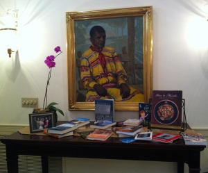 The Winning Books on Display in the Florida Authors Collection in the Governor's Mansion Library.