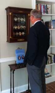Tom touring the Florida Room ... looking at the First Lady Miniatures Collection.